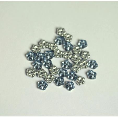 Korálky 10 g - modrá kytička 5 mm