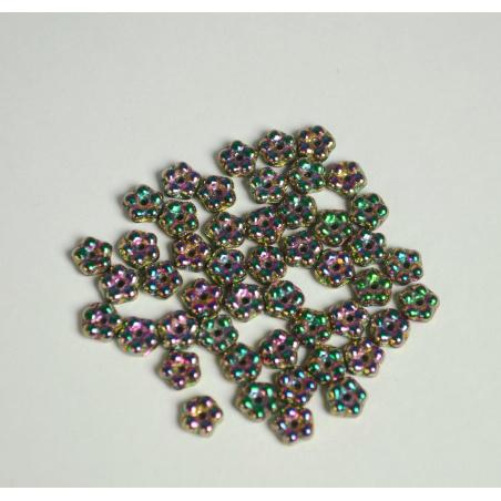 Korálky 10 g - fialová kytička 5 mm