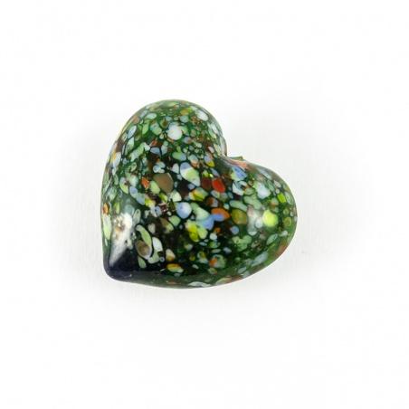 Skleněné srdíčko barevné - zelené kropenaté