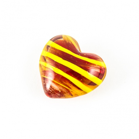 Skleněné srdíčko barevné - červeno žluté