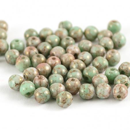 Sáček 5 g - kuličky 4 mm, zelený mramor