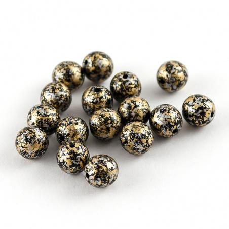 Sáček 5 g - kuličky 6 mm, zlatý melír