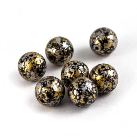 Sáček 5 g - kuličky 8 mm, zlatý melír