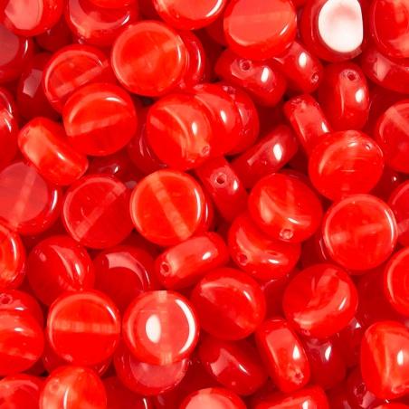 Korálky 10 g - červené placky