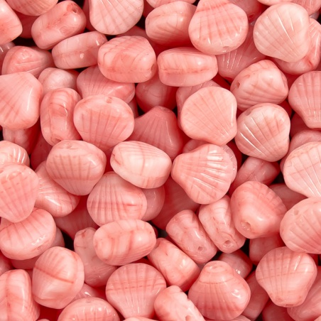 Korálky 10 g - růžové mušličky