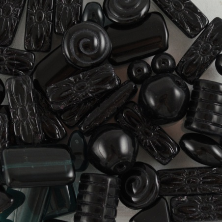 Korálky I.jak / 0,5 kg - černý mix