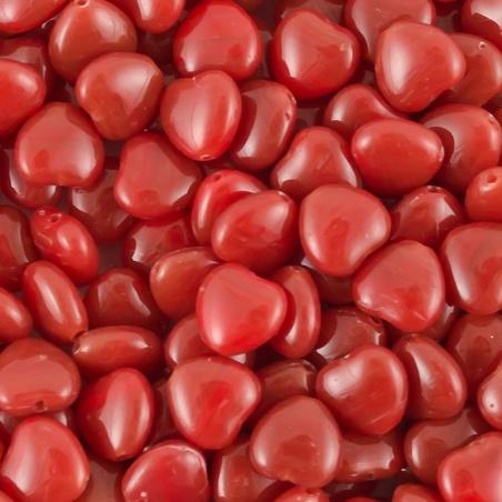 Korálky I.jak / 0,5 kg - červená srdíčka