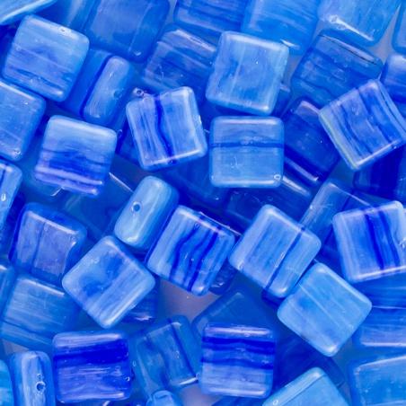 Korálky I.jak / 0,5 kg - sv. modré čtverečky