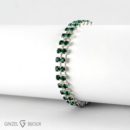 Náramek, stříbro/emerald