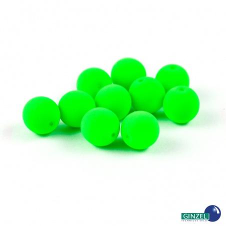 Neonové korálky - zelené, 8 mm, 10 ks