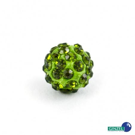 Kulička se šatony, sv. zelená - 1 ks
