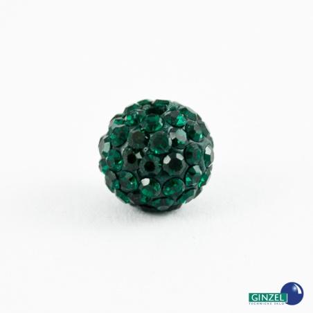 Kulička se šatony, tm. zelená - 1 ks