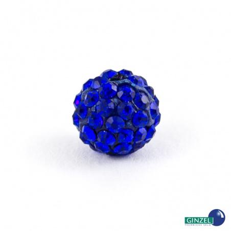 Kulička se šatony, tm. modrá - 1 ks