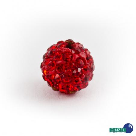 Kulička se šatony, červená - 1 ks