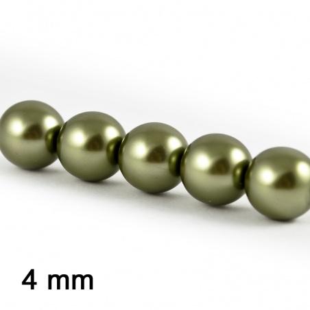 Voskové perle 4 mm - sv. khaki 25 ks
