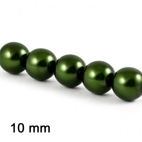 Voskové perle 10 mm - t. khaki 5 ks