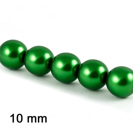 Voskové perle 10 mm - tm. zelená 5 ks