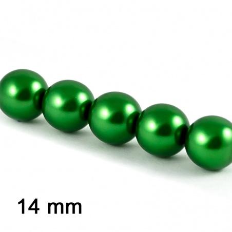 Voskové perle 14 mm - tm. zelená 3 ks
