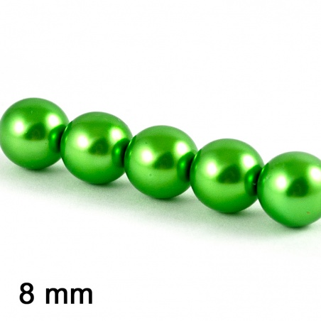 Voskové perle 8 mm - zelená 10 ks