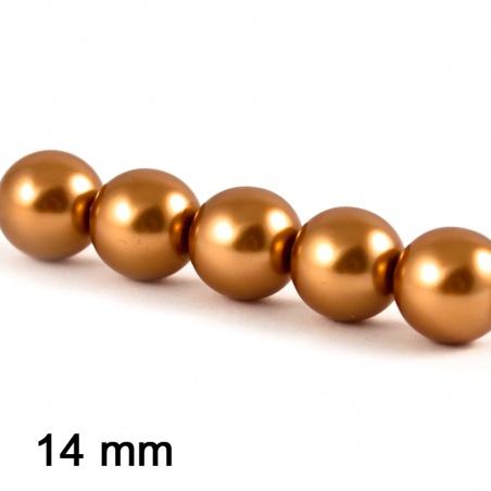 Voskové perle 14 mm - zlatohnědá 3 ks