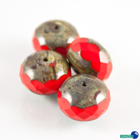 Červené rondelky, 13 mm, 4 ks