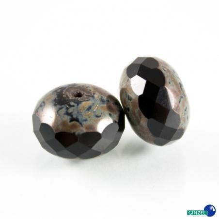 Černé rondelky, 16mm, 2 ks