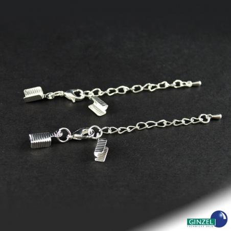 Adjustační řetízek s kalotou - 2 ks stříbrný