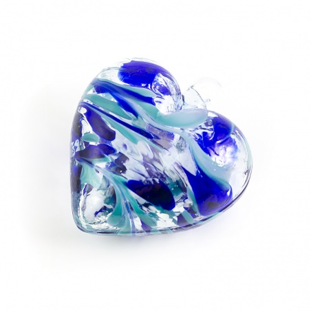Závěsné srdce skleněné - tyrkysovo modré