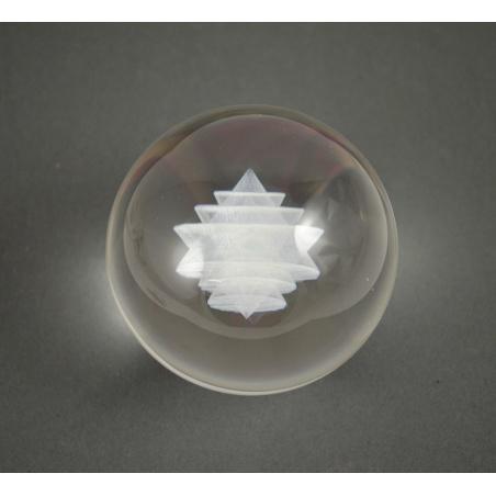 Skleněná koule 3d 80 mm - sri yantra