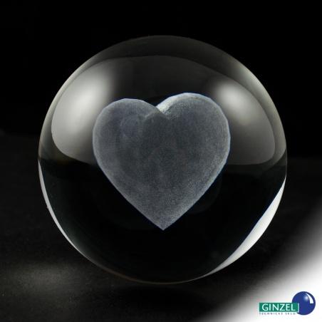 Koule 80 mm s 3D motivem - srdce