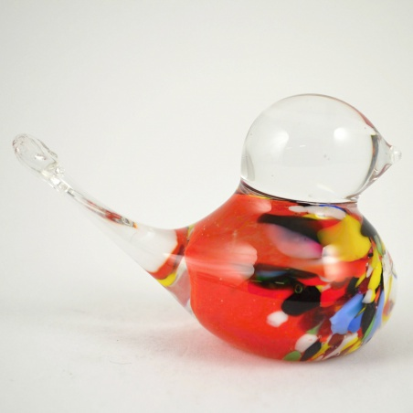 Skleněné těžítko ptáček - červenobarevný