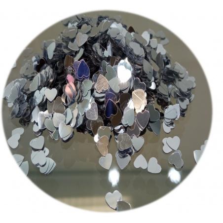 Polyester Glitter - srdíčka stříbrná 100g